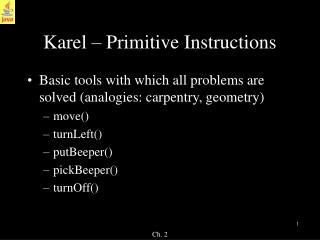 Karel   Primitive Instructions