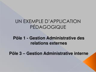 UN EXEMPLE D APPLICATION P DAGOGIQUE