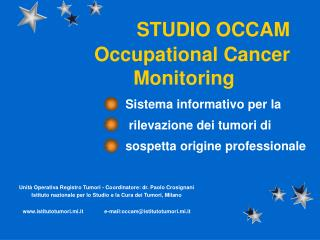 STUDIO OCCAM    Occupational Cancer        Monitoring