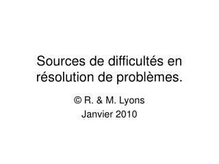 Sources de difficult s en r solution de probl mes.
