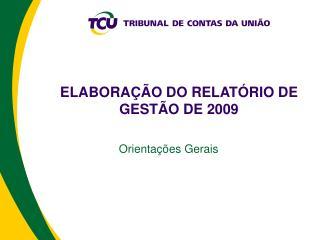 ELABORA  O DO RELAT RIO DE GEST O DE 2009