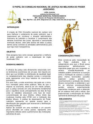O PAPEL DO CONSELHO NACIONAL DE JUSTI A NA MELHORIA DO PODER JUDICI RIO