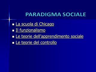 Il paradigma sociale
