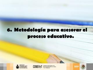 6.  Metodolog a para asesorar el  proceso educativo.