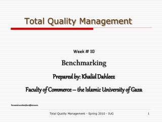 Total Quality Management - Spring 2010 - IUG