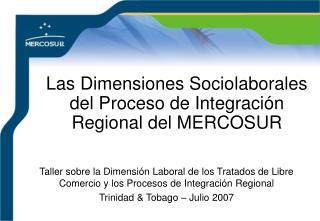 Las Dimensiones Sociolaborales del Proceso de Integraci n Regional del MERCOSUR