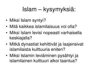 Islam   kysymyksi :