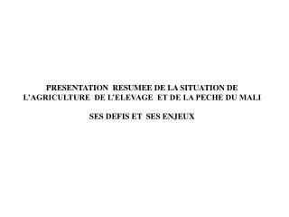 PRESENTATION  RESUMEE DE LA SITUATION DE L AGRICULTURE  DE L ELEVAGE  ET DE LA PECHE DU MALI SES DEFIS ET  SES ENJEUX