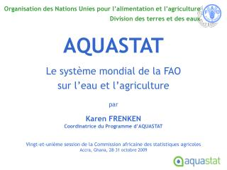 Organisation des Nations Unies pour l alimentation et l agriculture  Division des terres et des eaux