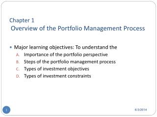 Chapter 1  Overview of the Portfolio Management Process