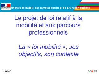 Le projet de loi relatif   la mobilit  et aux parcours professionnels  La   loi mobilit   , ses objectifs, son contexte