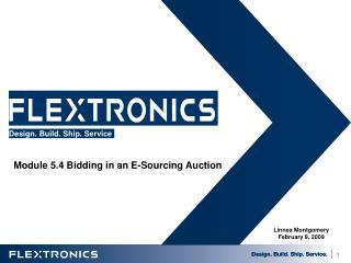Module 5.4 Bidding in an E-Sourcing Auction 5.4