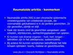 Reumato de artritis - kenmerken