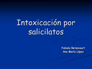 Intoxicaci n por salicilatos