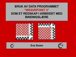BRUK AV DATA PROGRAMMET  WEAVEPOINT 5  SOM ET REDSKAP I ARBEIDET MED BINDINGSL RE