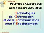 Technologies de l Information et de la Communication  pour l Enseignement