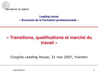 Transitions, qualifications et march  du travail