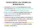 VIS O CR TICA DA TEORIA DA BUROCRACIA