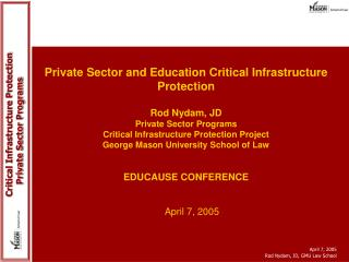 Private Sector and Education Critical Infrastructure Protection   Rod Nydam, JD Private Sector Programs Critical Infrast