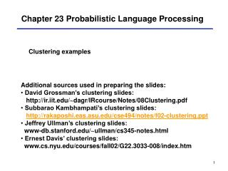 Chapter 23 Probabilistic Language Processing