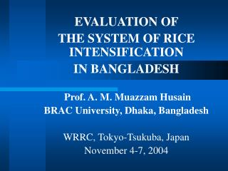 EVALUATION OF  THE SYSTEM OF RICE INTENSIFICATION  IN BANGLADESH    Prof. A. M. Muazzam Husain BRAC University, Dhaka, B