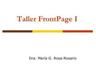 Taller FrontPage I