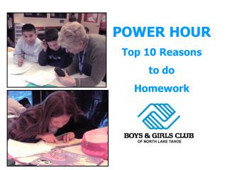 POWER HOUR Top 10 Reasons to do Homework