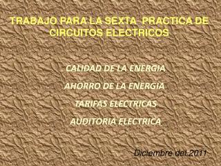 CALIDAD DE LA ENERGIA AHORRO DE LA ENERGIA  TARIFAS ELECTRICAS AUDITORIA ELECTRICA