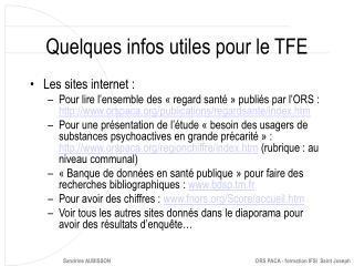 Quelques infos utiles pour le TFE