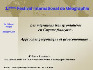 Les migrations transfrontali res  en Guyane fran aise .   Approches g opolitique et g o conomique  .