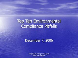 Top Ten Environmental Compliance Pitfalls