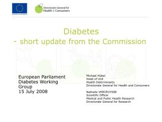 Diabetes  - short update from the Commission