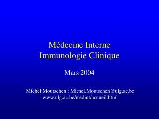 M decine Interne Immunologie Clinique