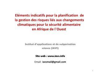 El ments indicatifs pour la planification  de  la gestion des risques li s aux changements  climatiques pour la s curit
