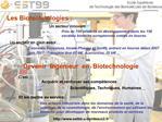 Devenir  Ing nieur  en  Biotechnologie