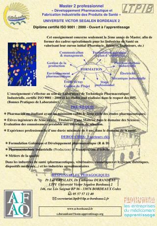 Master 2 professionnel    D veloppement Pharmaceutique et Fabrication Industrielle des Produits de Sant    UNIVERSITE VI
