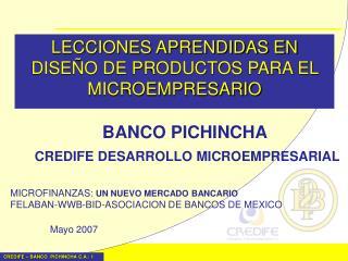 LECCIONES APRENDIDAS EN DISE O DE PRODUCTOS PARA EL MICROEMPRESARIO