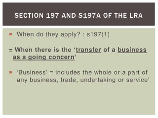 Section 197 and s197A of the LRA