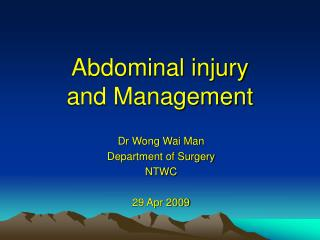 Abdominal injury  and Management
