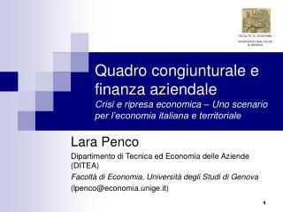 Quadro congiunturale e finanza aziendale Crisi e ripresa economica   Uno scenario per l economia italiana e territoriale