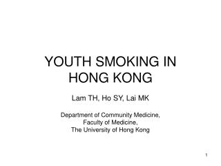 YOUTH SMOKING IN HONG KONG