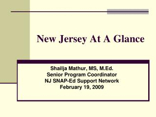 New Jersey At A Glance