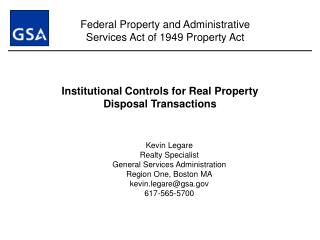 Institutional Controls for Real Property  Disposal Transactions