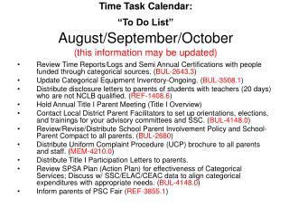 Time Task Calendar:   To Do List   August