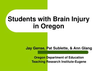 Students with Brain Injury in Oregon