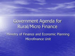 Government Agenda for Rural