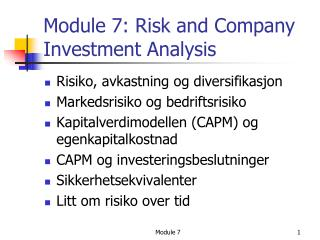 Module 7: Risk and Company Investment Analysis