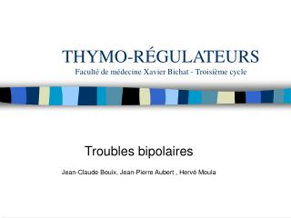 THYMO-R GULATEURS Facult  de m decine Xavier Bichat - Troisi me cycle