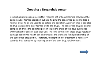 Choosing a Drug rehab center