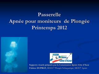 Passerelle Apn e pour moniteurs  de Plong e Printemps 2012